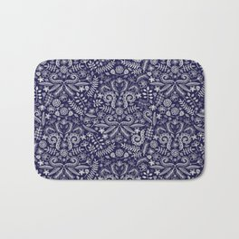 Chalkboard Floral Doodle Pattern in Navy & Cream Bath Mat