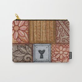 Patchwork Tiles Grains and Metal Carry-All Pouch