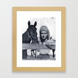 Statue Woman and Her Horse Framed Art Print