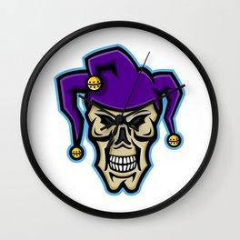 Court Jester Skull Mascot Wall Clock