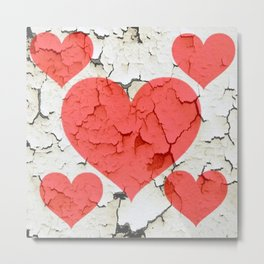 DECORATIVE SHABBY CHIC RED-WHITE FRACTURED VALENTINE HEARTS Metal Print