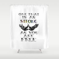 larry stylinson Shower Curtains featuring One that's strong as you are free (Larry Stylinson) by Arabella