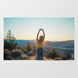 """Golden Hour Girl"" - Sunset in Bend, Oregon Rug"