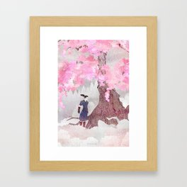 Tengami - Winter Cherry Tree (Portrait) Framed Art Print