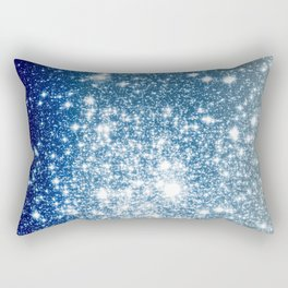 Galaxy Sparkle Stars Deep Blue Silver Ombre Rectangular Pillow
