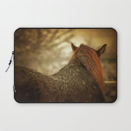 Horse View from Back in Snow in Winter. Golden Age Painting Style. Laptop Sleeve