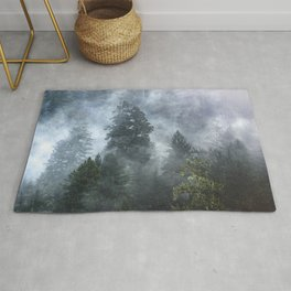 Smoky Redwood Forest Foggy Woods - Nature Photography Rug