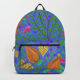 Tulip folk art blue Backpack