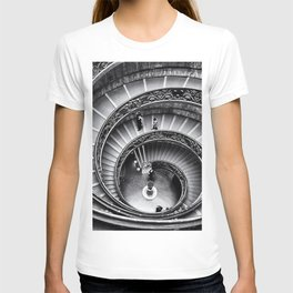 Sublime Spiral Staircase, Vatican, Rome, Italy black and white photograph T-shirt
