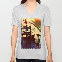 pirate ship Unisex V-Neck