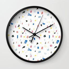 Abstract colorful dots and squares shapes painting print Wall Clock