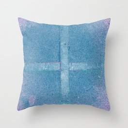 manipulated photograph of Cruz drawn on the ground by balsa in gradient colors of pink and blue Throw Pillow