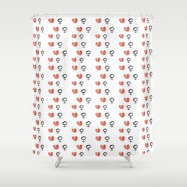 symbol of woman with a heart 5 Shower Curtain