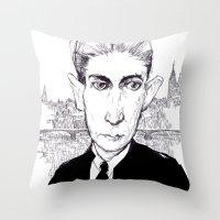 kafka Throw Pillows featuring Franz Kafka by Howard Coale