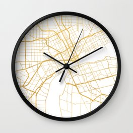 DETROIT MICHIGAN CITY STREET MAP ART Wall Clock