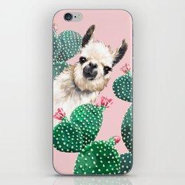 Llama and Cactus Pink iPhone Skin