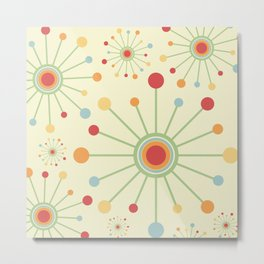 Mid Century Modern Retro 1970s Inspired SunBurst in Muted Colors Metal Print