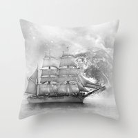 uncharted Throw Pillows featuring Sailing uncharted waters by Sney1