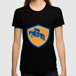 Equestrian Show Jumping Side Shield Retro T-shirt