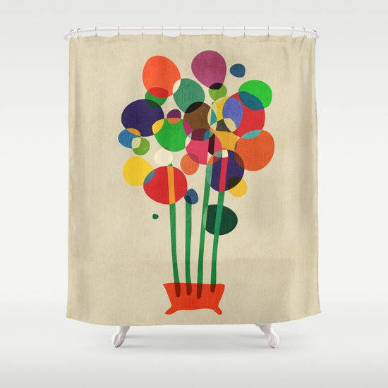 Happy flowers in the vase Shower Curtain