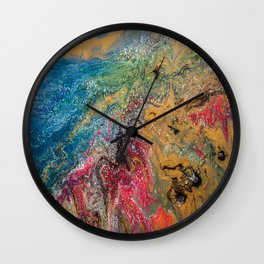 Gold Fuid Abstract Wall Clock
