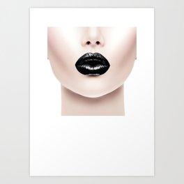 Fashion Print, Black Lip Print, Fashion Printable Art Print
