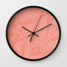 Fancy Light Pink Leaves Scroll Damask on Pantone Living Coral Wall Clock