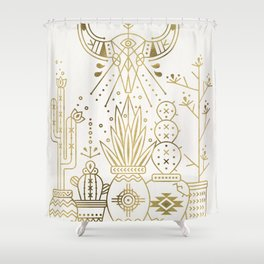Santa Fe Garden – Gold Ink Shower Curtain