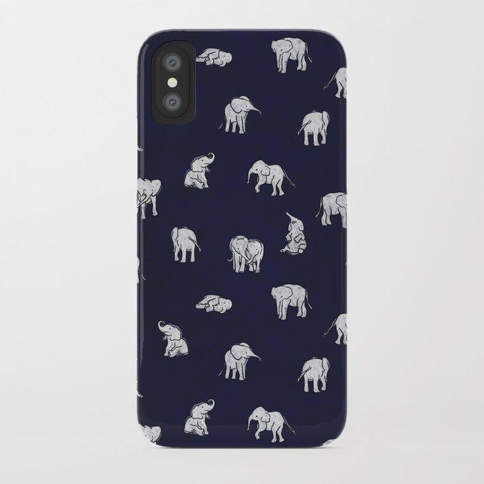 Indian Baby Elephants in Navy iPhone Case
