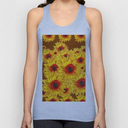 Coffee Brown & Red Centered Yellow Sunflowers Unisex Tank Top