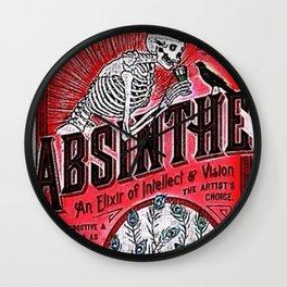 Vintage 1871 Red Absinthe Liquor Skeleton Elixir Aperitif Cocktail Alcohol Advertisement Poster Wall Clock