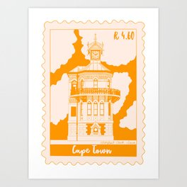 Waterfront Clock Tower in Cape Town Stamp Art Print