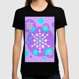 A Lavender and Aqua Snowflake Design T-shirt