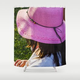 Big pink hat for a child girl on the grass Shower Curtain