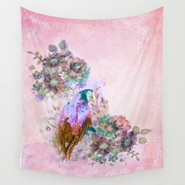 Parrot Bouquet - Rose Wall Tapestry