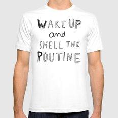 WAKE UP White Mens Fitted Tee MEDIUM