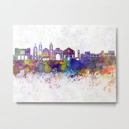 Rhodes skyline in watercolor background Metal Print