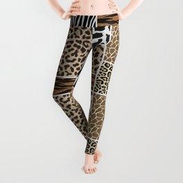 Multi-Animal Stylized Print Leggings