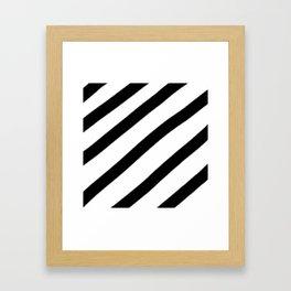 Soft Diagonal Black and White Stripes Framed Art Print