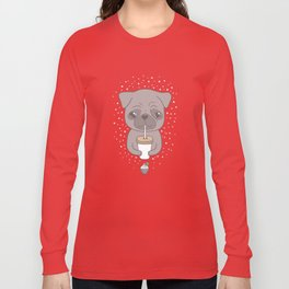 Pug, coffee & cupcake Long Sleeve T-shirt