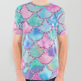 Colorful Pink and Blue Watercolor Trendy Glitter Mermaid Scales All Over Graphic Tee