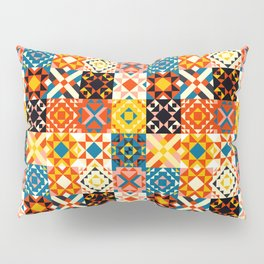 Maroccan tiles pattern with red an blue no2 Pillow Sham