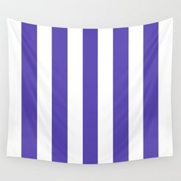 Plump Purple - solid color - white vertical lines pattern Wall Tapestry