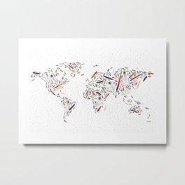 Birds of a Feather World Map Art Metal Print