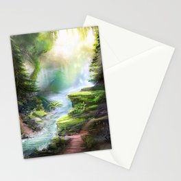 Magical Forest Stream Stationery Cards