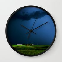 aelwen Wall Clocks featuring Wild, wild weather by Donuts