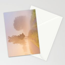 Foggy sunrise in typical polder landscape in The Netherlands Stationery Cards