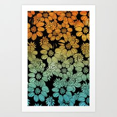 Gradient Flowers - for iphone Art Print