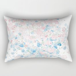 light pink and blue Baby Breath Bouquet gypsophila watercolor painting  Rectangular Pillow