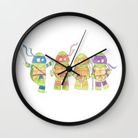ninja turtles Wall Clocks featuring Ninja Turtles by Icameisawiateit